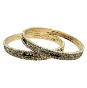 Bollywood Bangle Wedding Jewelry Gold Plated Rhinestone Bangles Set 2pc Size 210