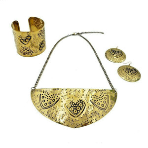 Fuli Brass Necklace Earrings and Cuff Jewelry Set