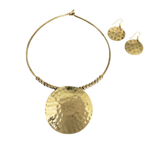 Hatho Hammered Brass Necklace & Earrings Set