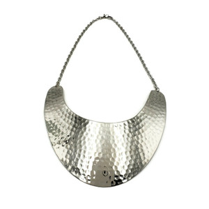 Anda Hammered Brass Necklace - Silver