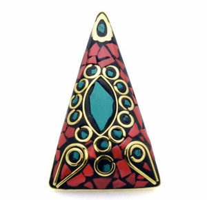 Adanya Triangle Terracotta and Mosaic Ring