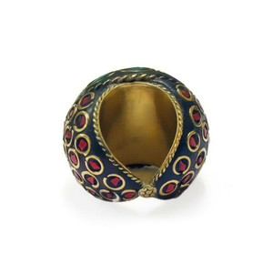 Dahlia Terracotta and Mosaic Sultani Ring - Green & Red