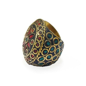 Ayanna Terracotta and Mosaic Sultani Ring - Red & Green