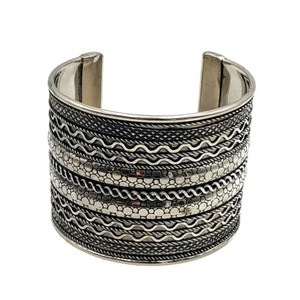 Ava Boho/Ethnic Ornate Brass Cuff - Silver