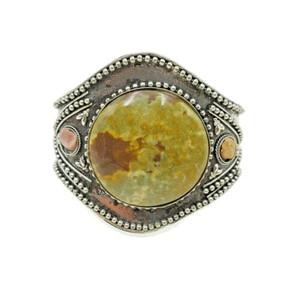 Hanna Boho Style Ornate Brass Cuff with Chunky Agate Cabochon