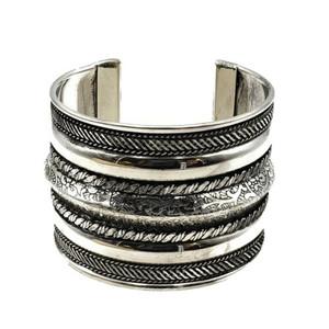 Sasha Ornate Brass Boho Cuff - Silver