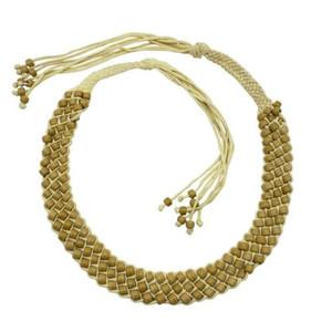 Keeya Glass Pony Beads Paracord Belt - Beige