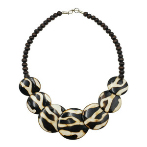 Batik Print Resin Necklace with Wood Beads