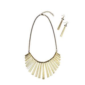 Lysha Fringed Tribal Necklace - Gold