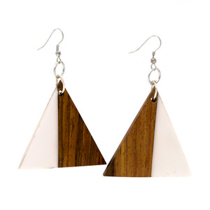 Fumnaya Triangular Wood and Resin Earring ER2886