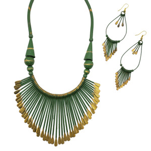 Finari Fringed Brass Necklace and Earring Set