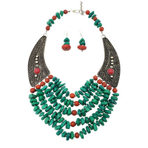 Afia Terracotta Brass Wings Necklace Set
