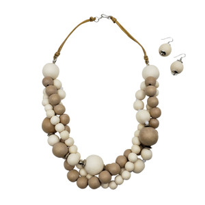 Jovita Bubble Wooden Necklace and Earring Set