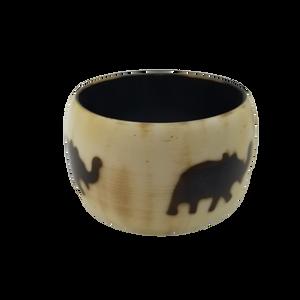 """Resin Bangle Bracelet Elephant Design White/Brown 2"""""""