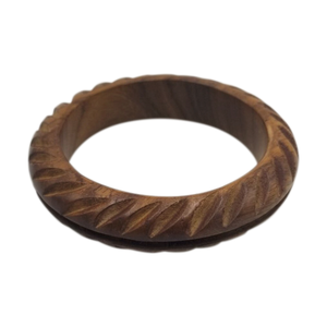 Binta Natural Wood Carved Bangle 3/4""
