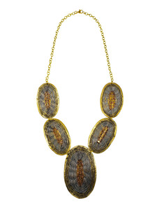 Nala Three Tone Evil Eye Weaved Brass Necklace