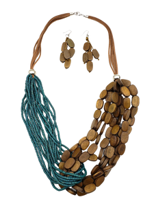 Boha Wood and Coco Beads Fusion Necklace Set