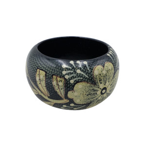 Fula Chunky Floral Hand Painted Wood Bangle