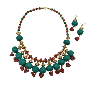 Anaka Clay Beads Necklace Earring Set - Turquoise and Coral Tone Beads