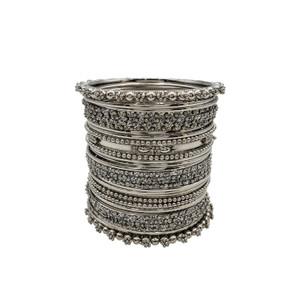 Prisha Silver Plated Brass Stack Bangle