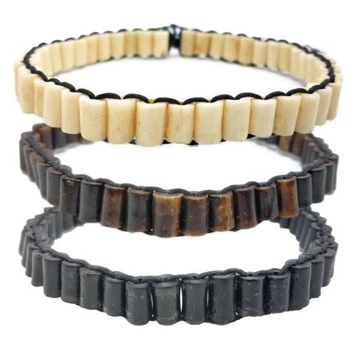 Buffalo Bone Choker Leather Binding Native America Jewelry Beads CK6607-BW