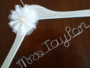 Personalised Adult Crystal Encrusted Hanger with White Lace Flower