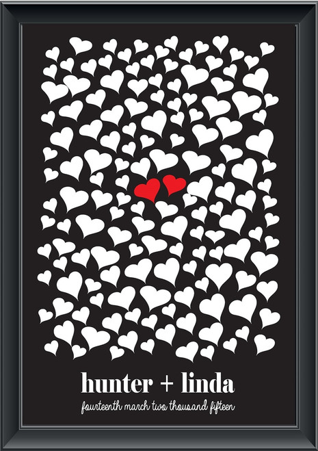 Personalised Middle Hearts Guestbook