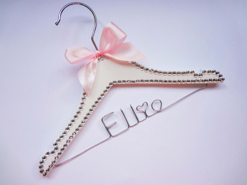 Child bling hanger with baby pink bow