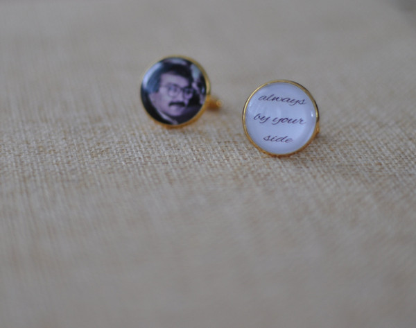 Personalised Photo/Text Cuff Links - Gold