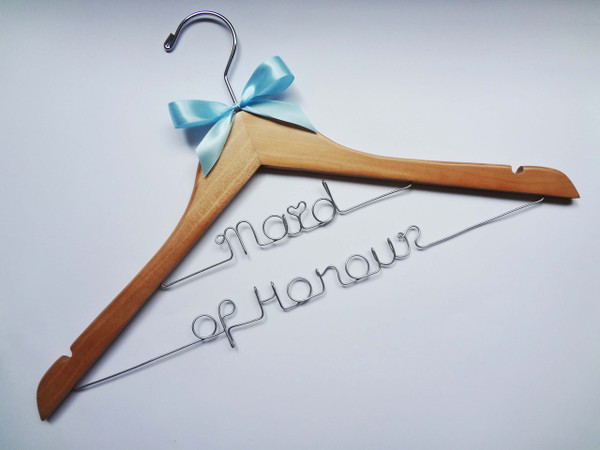 Natural adult hanger (double line wiring) with white bow