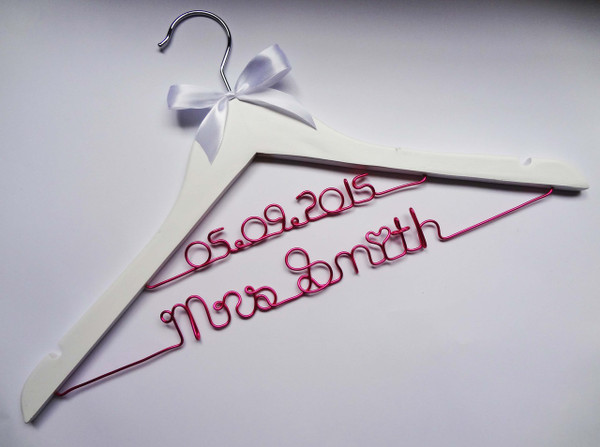 White adult hanger (double line wiring) with white bow - Hot pink wire