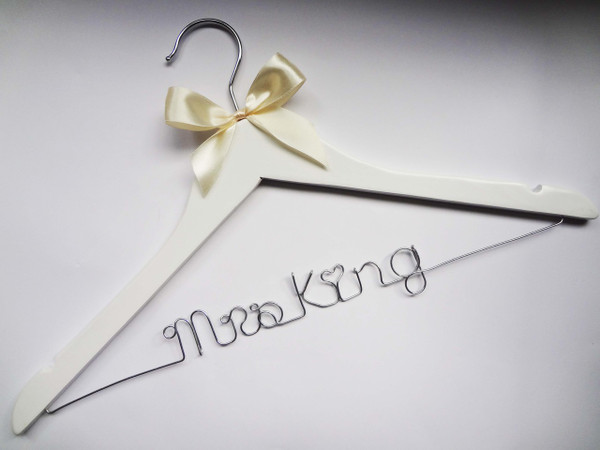 White hanger with Ivory Bow