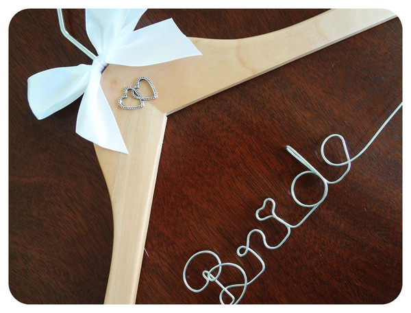 Personalised Adult Hanger with Double Heart Charm