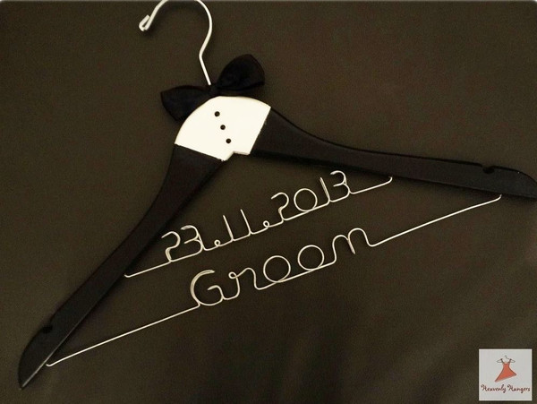 Personalised Adult Tuxedo hanger - two lines of wiring