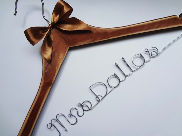 Personalised Adult Rustic Hanger with Bronze Bow