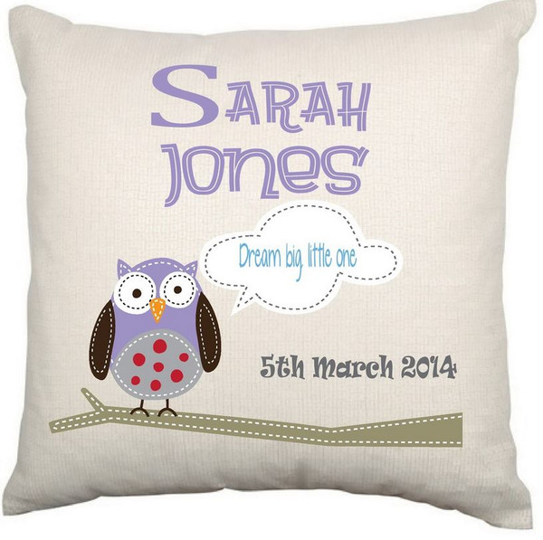 Personalised Baby Cushion Cover (Owl)