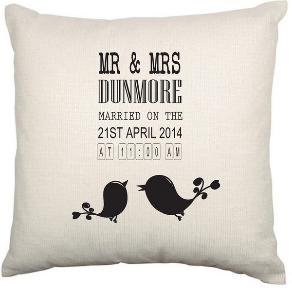 Personalised Couples Cushion Cover (Love Birds)