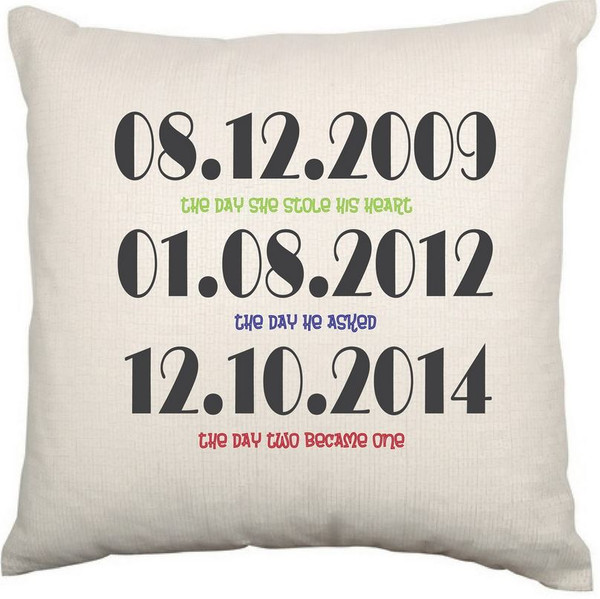 Personalised Couples Cushion Cover (Dates)