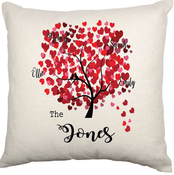 Personalised Cushion Cover (Family Tree Hearts)
