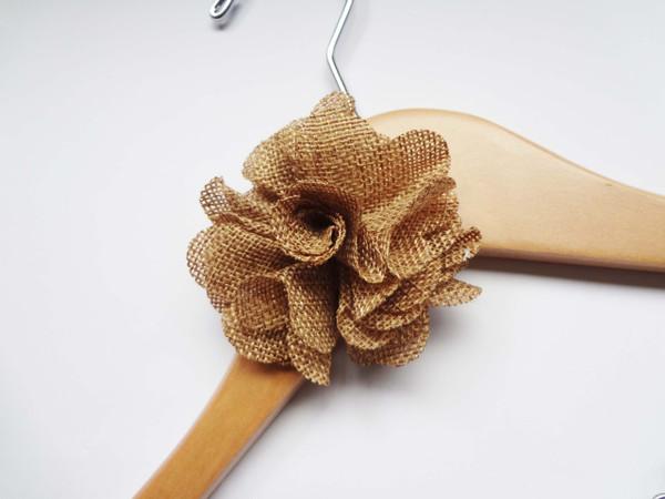 Burlap flower on Natural hanger