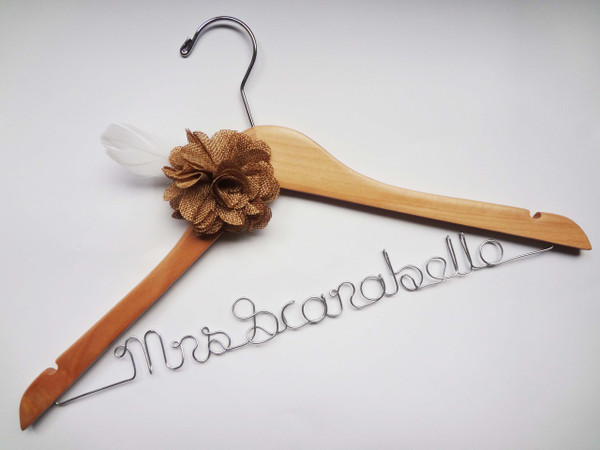 Burlap flower with feather on Natural coloured hanger