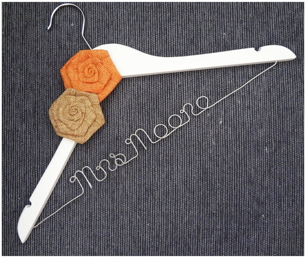 White hanger with Beige and Orange Burlap Roses