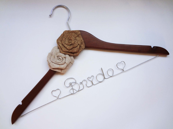 Walnut hanger with Beige and Brown Burlap Roses