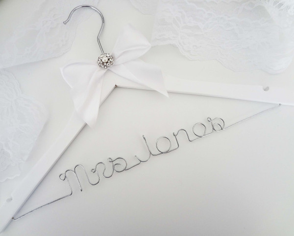 Personalised Adult Hanger with Large Bow and Rhinestone Centre