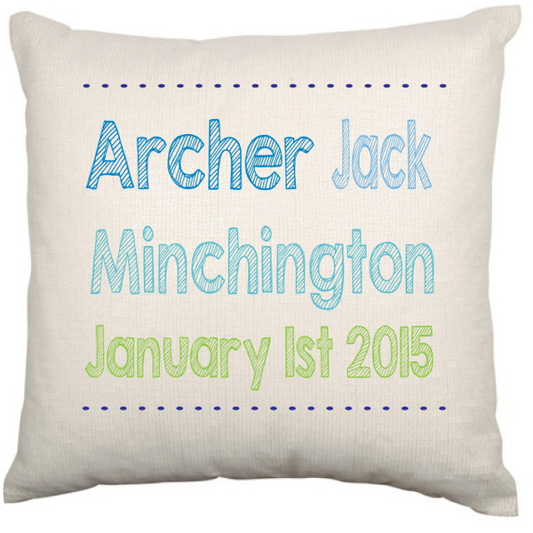 Personalised Baby Cushion Cover (Name&Birthday)