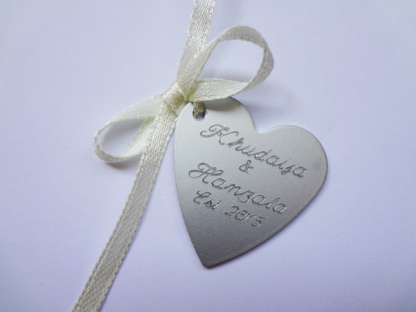 Bouquet Charm (Engraved heart with your own phrase/words/text) - Jess Design