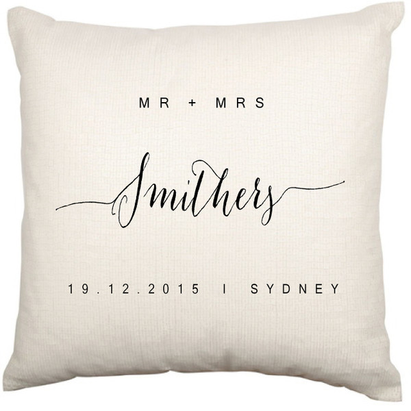 Personalised Couples Date Cushion Cover (Modern)