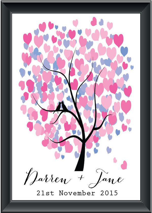 Personalised Heart Tree Guestbook (Modern font)