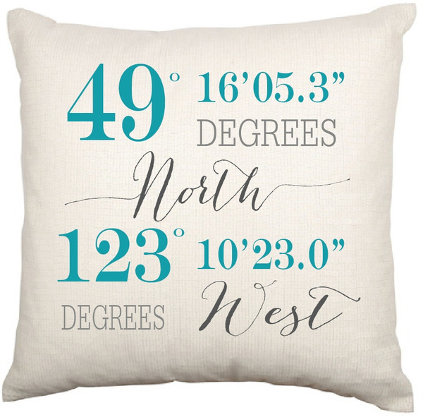 Personalised Coordinates Cushion Cover (Dixie Design)