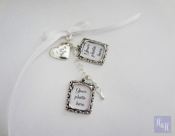 Double DIY Wedding Bouquet Photo Memory Charms w/ I love you charm